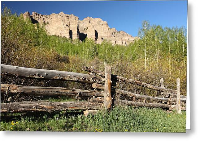 Old Country Roads Greeting Cards - Colorado Log Fence Greeting Card by Eric Glaser