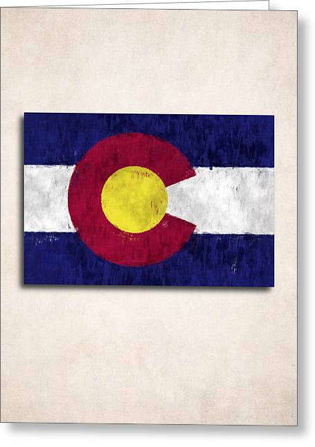 Colorado Flag Greeting Cards - Colorado Map Art with Flag Design Greeting Card by World Art Prints And Designs