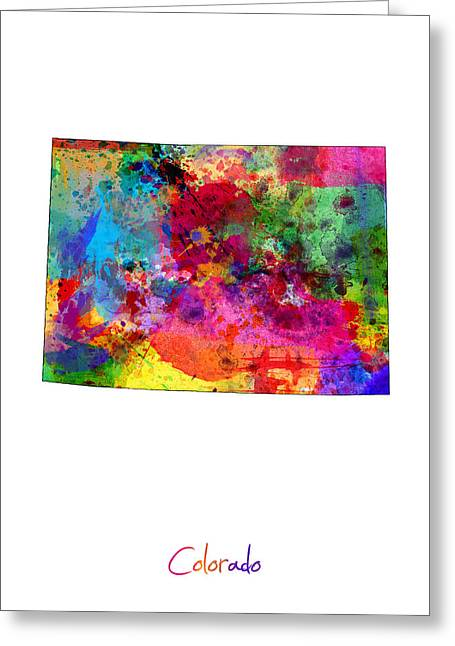 Colorado Greeting Cards - Colorado Map Greeting Card by Michael Tompsett