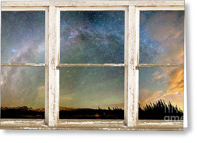 Indian Peaks Greeting Cards - Colorado Milky Way Panorama Rustic Window View Greeting Card by James BO  Insogna