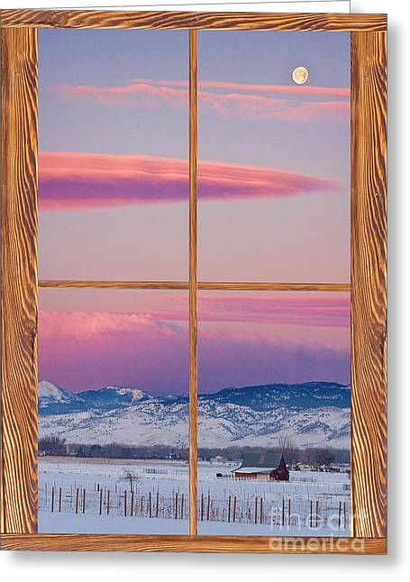 Room With A View Greeting Cards - Colorado Moon Sunrise Barn Wood Picture Window View Greeting Card by James BO  Insogna