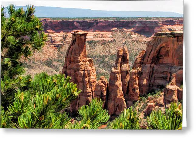 Monolith Greeting Cards - Colorado National Monument Canyon Monoliths Greeting Card by Christopher Arndt