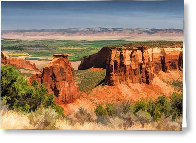 Colorado Greeting Cards - Colorado National Monument Canyon Panorama Greeting Card by Christopher Arndt