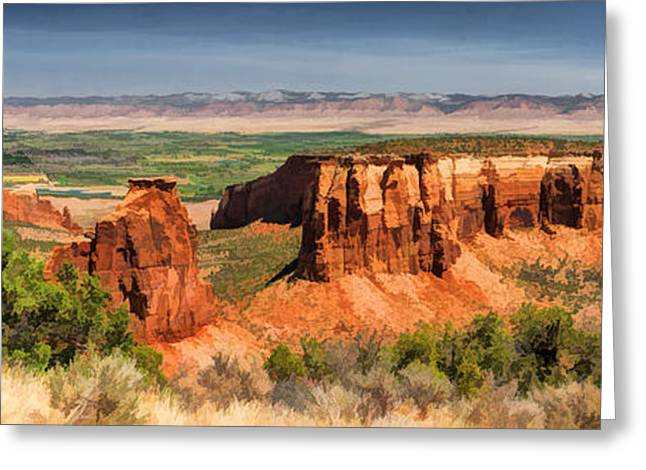 Colorado Plateau Greeting Cards - Colorado National Monument Canyon Panorama Greeting Card by Christopher Arndt