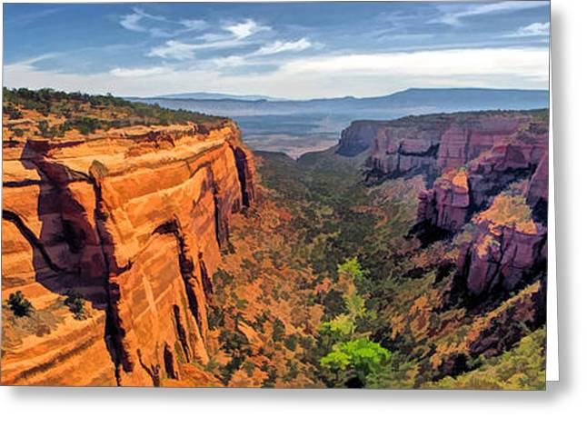 Colorado Plateau Greeting Cards - Colorado National Monument Red Canyon Panorama Greeting Card by Christopher Arndt