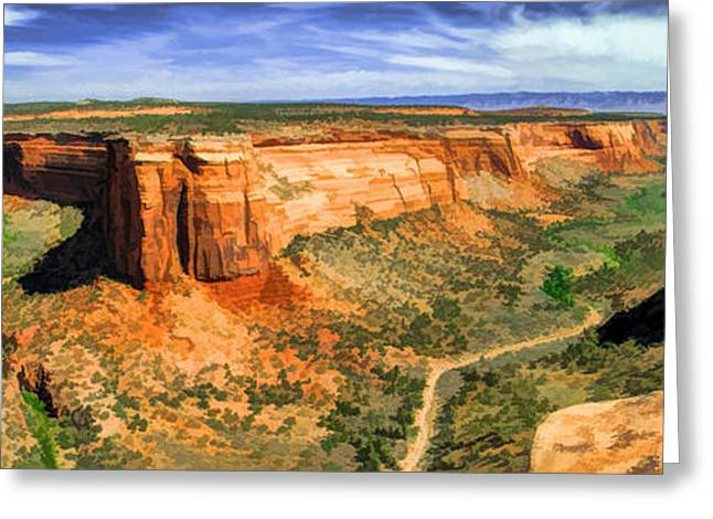 Colorado Plateau Greeting Cards - Colorado National Monument Ute Canyon Panorama Greeting Card by Christopher Arndt