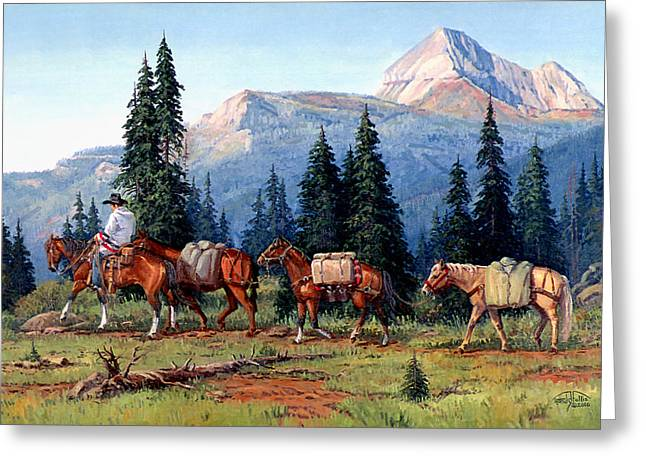 Arizona Cowboy Greeting Cards - Colorado Outfitter Greeting Card by Randy Follis