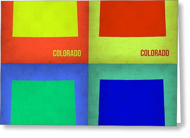 Colorado Posters Greeting Cards - Colorado Pop Art Map 2 Greeting Card by Naxart Studio