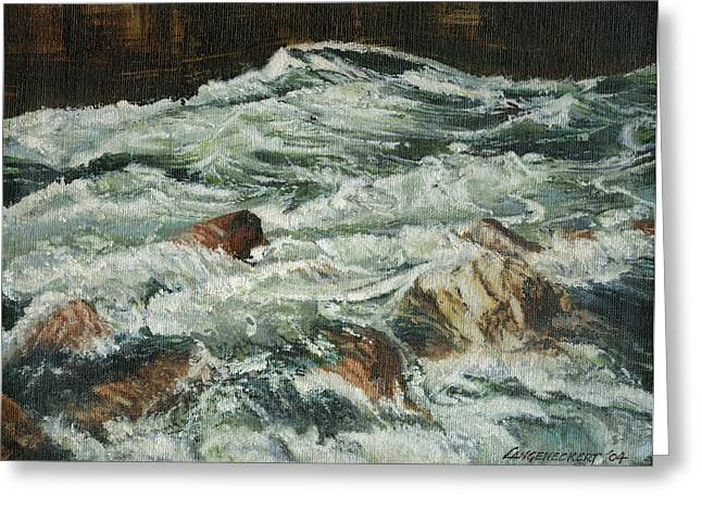 Rapid Paintings Greeting Cards - White Water Rapids Greeting Card by Don  Langeneckert
