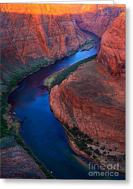 Harsh Photographs Greeting Cards - Colorado River Bend Greeting Card by Inge Johnsson