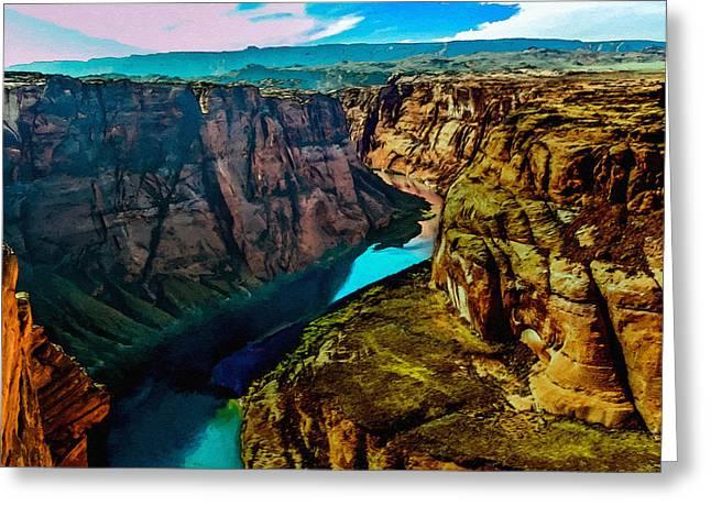 Moran Mixed Media Greeting Cards - Colorado River Grand Canyon Greeting Card by  Bob and Nadine Johnston