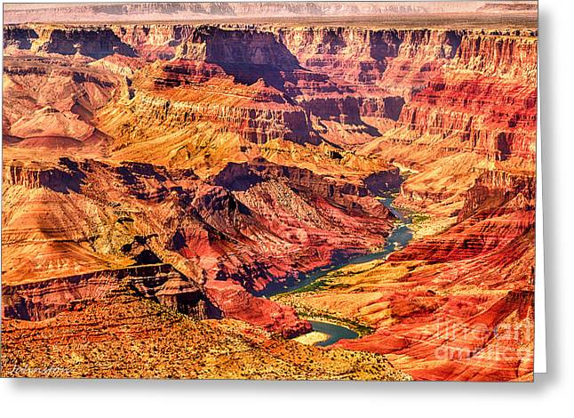 Desertview Greeting Cards - Colorado River One Mile Below and about 100 miles to the Vermillion Cliffs in Utah Greeting Card by  Bob and Nadine Johnston