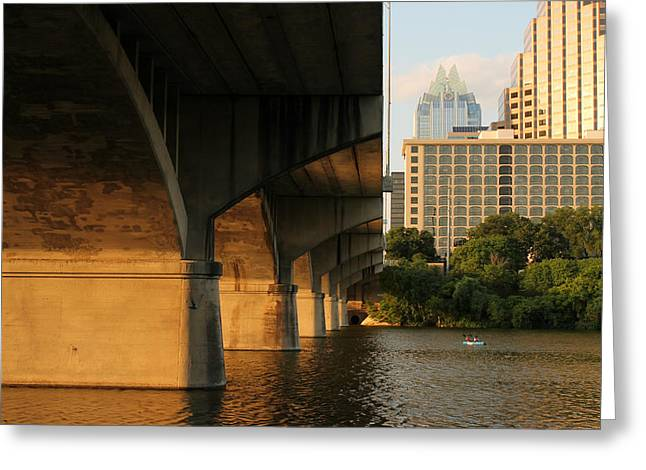 Frost Bank Building Greeting Cards - Colorado River Running Under Congress Street Bridge in Austin Texas Greeting Card by Sarah Broadmeadow-Thomas