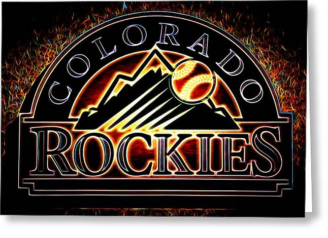 Todd Helton Greeting Cards - Colorado Rockies Logo Greeting Card by Stephen Stookey