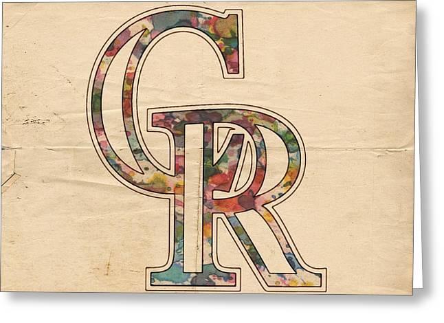 Colorado Posters Greeting Cards - Colorado Rockies Logo Vintage Greeting Card by Florian Rodarte
