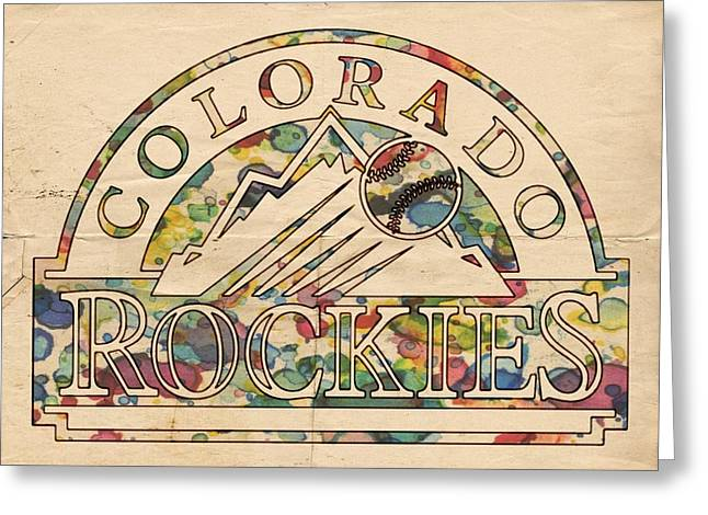 Colorado Posters Greeting Cards - Colorado Rockies Vintage Poster Greeting Card by Florian Rodarte