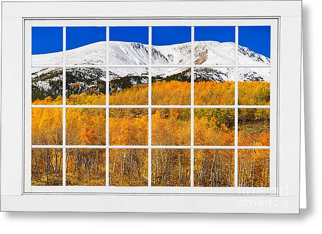 Office Space Photographs Greeting Cards - Colorado Rocky Mountain Autumn Pass White Window View  Greeting Card by James BO  Insogna