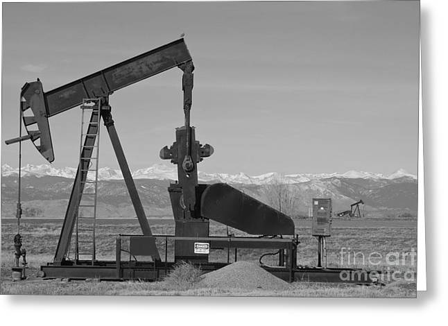 Landscape Oil Photographs Greeting Cards - Colorado Rocky Mountain Oil Wells BW Greeting Card by James BO  Insogna