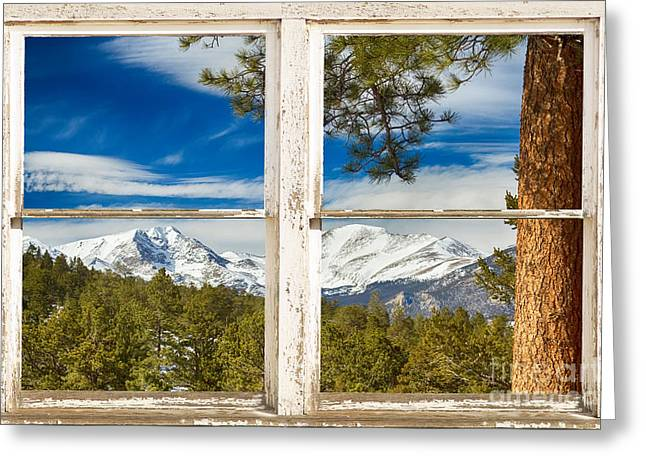 National Commercial Greeting Cards - Colorado Rocky Mountain Rustic Window View Greeting Card by James BO  Insogna