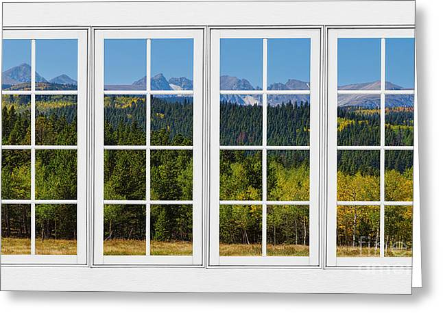 Room With A View Greeting Cards - Colorado Rocky Mountains White Window Frame View Greeting Card by James BO  Insogna
