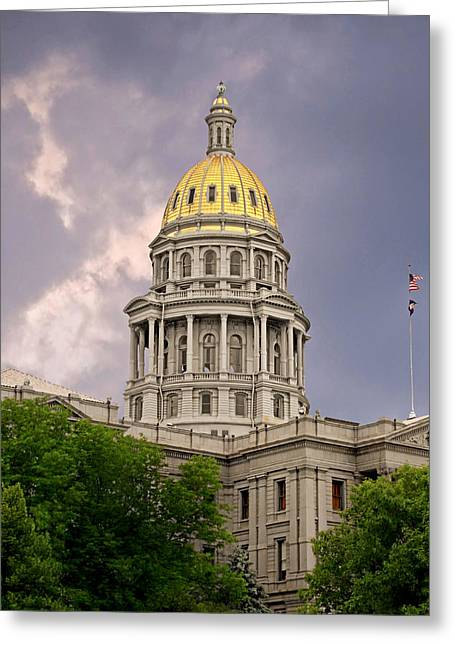 Flags Greeting Cards - Colorado State Capitol Building Denver CO Greeting Card by Christine Till