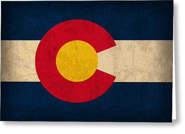 Colorado Greeting Cards - Colorado State Flag Art on Worn Canvas Greeting Card by Design Turnpike