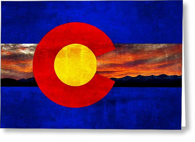 Label Greeting Cards - Colorado State Flag Greeting Card by Barbara Chichester
