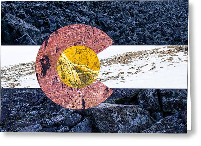 Levels Greeting Cards - Colorado State Flag with Mountain Textures Greeting Card by Aaron Spong