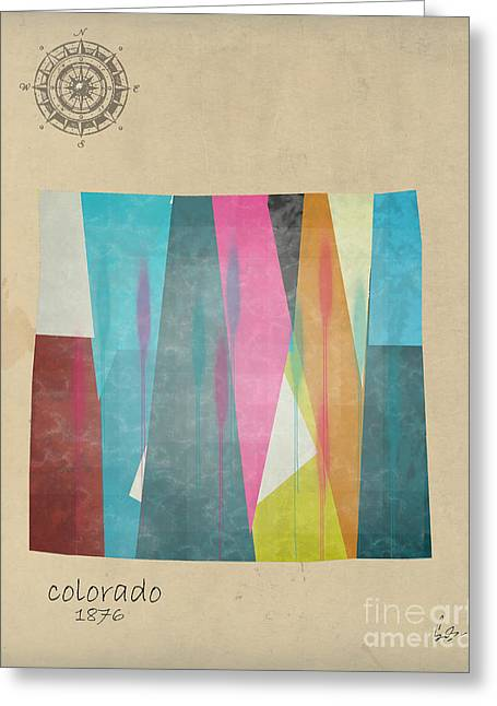 Abstract Map Greeting Cards - Colorado state map Greeting Card by Bri Buckley