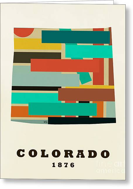 Abstract Map Paintings Greeting Cards - Colorado state map modern Greeting Card by Bri Buckley