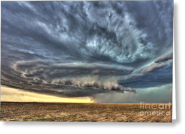 Wheat Field Sky Pictures Greeting Cards - Colorado storm  Greeting Card by Jeremy Holmes