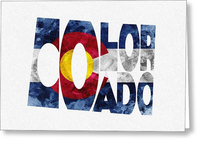 Friends Greeting Cards - Colorado Typographic Map Flag Greeting Card by Ayse Deniz