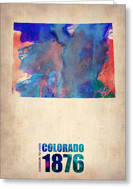 Colorado Greeting Cards - Colorado Watercolor Map Greeting Card by Naxart Studio