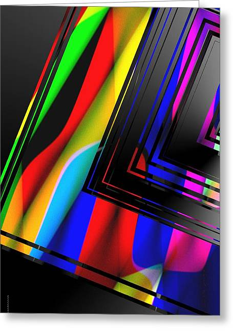 Geometry Greeting Cards - Colored Abstract Geometry Greeting Card by Mario  Perez