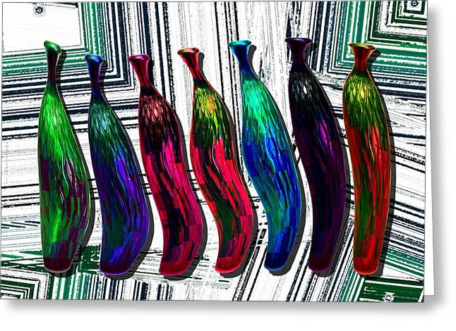 Shape Greeting Cards - Colored Abstract Still Life Greeting Card by Mario  Perez