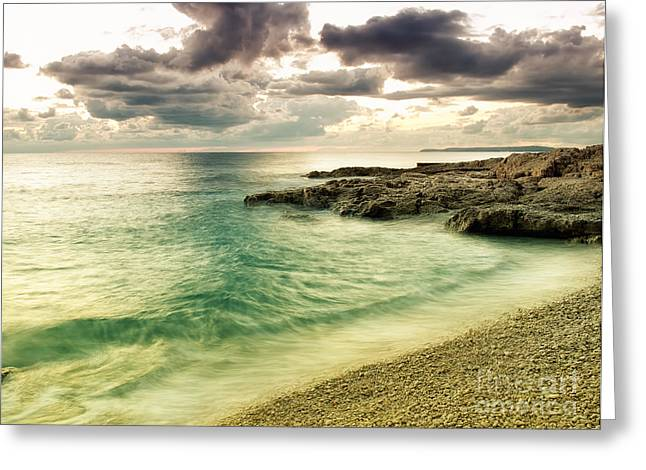 Storm Clouds; Sunset; Twilight; Water Greeting Cards - Colored Adriatic Greeting Card by Sinisa Botas