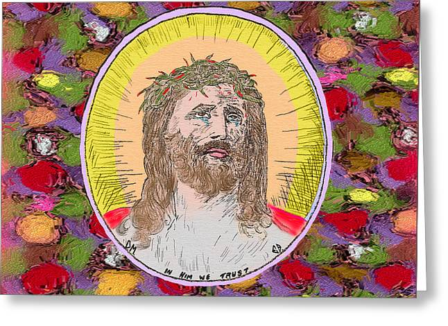 Colored Background Jesus Greeting Card by Donna Munro