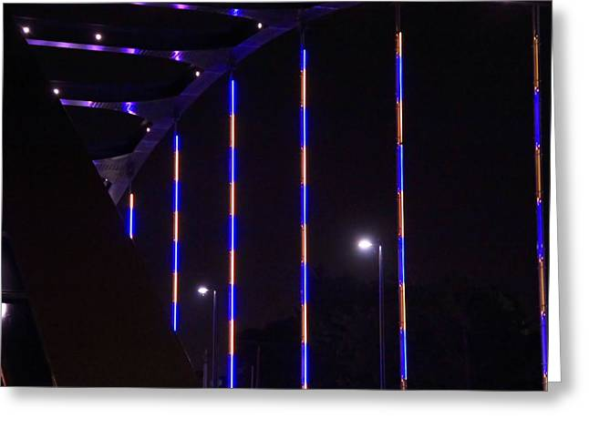 Indiana Photography Greeting Cards - Colored Bridge At Night Greeting Card by Dan Sproul