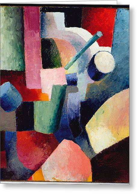 Macke Greeting Cards - Colored Composition of Forms   Greeting Card by August Macke