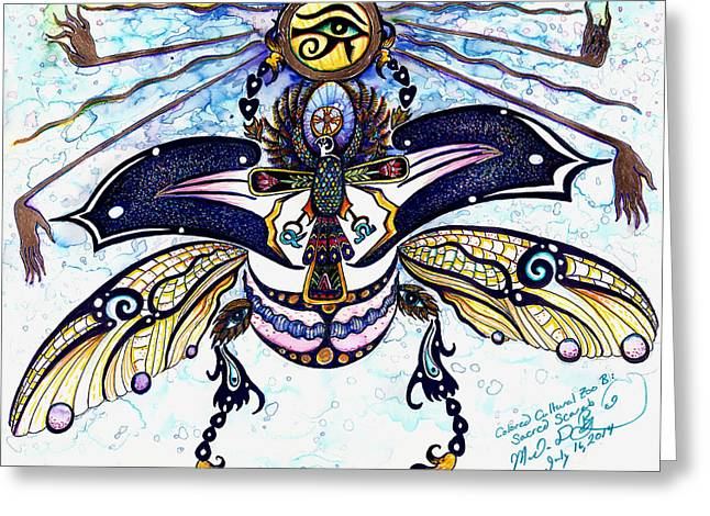 Wild Life Drawings Greeting Cards - Colored Cultural Zoo B Sacred Scarab Greeting Card by Melinda Dare Benfield