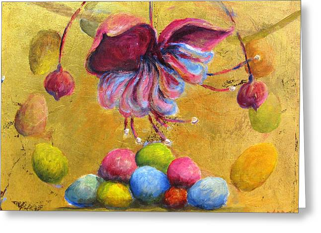 Mchugh Greeting Cards - Colored Eggs Greeting Card by Marie-louise McHugh