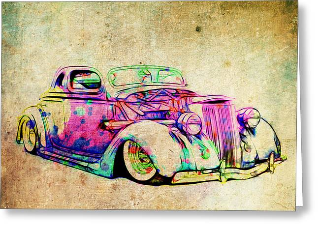 Graffitti Coupe Greeting Cards - Colored Ford Coupe Greeting Card by Steve McKinzie