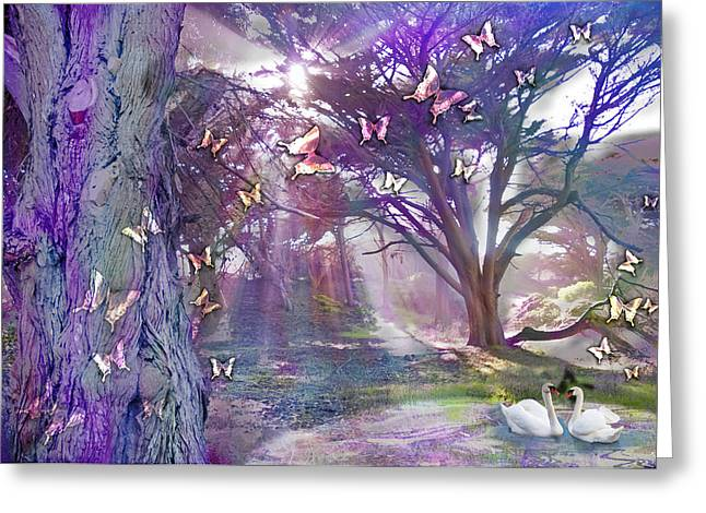 Swans... Greeting Cards - Colored Forest Greeting Card by Alixandra Mullins