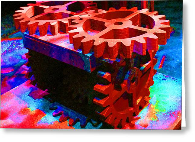 Enhanced Pyrography Greeting Cards - Colored Gears 05 Greeting Card by Donald Hood