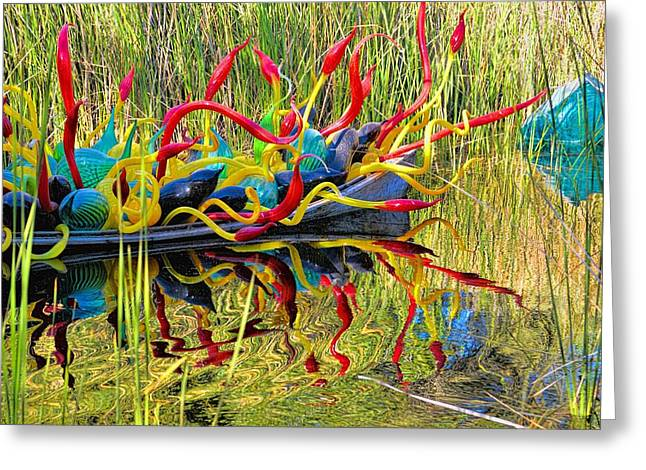 Chihuly Glass Greeting Cards - Colored Glass Reflections Greeting Card by Julie Rotter