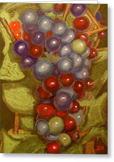 Grapevines Pastels Greeting Cards - Colored Grapes Greeting Card by Joseph Hawkins