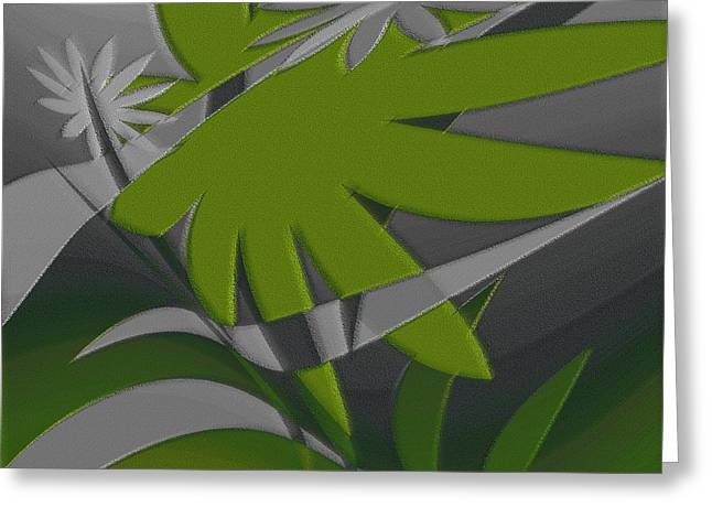 Abstract Flowers And Leaves Greeting Cards - Colored Jungle Green Greeting Card by Ben and Raisa Gertsberg