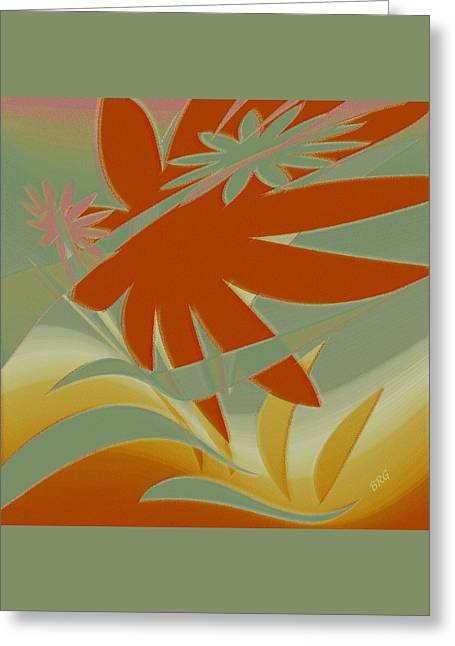 Colored Jungle Orange Splash Greeting Card by Ben and Raisa Gertsberg