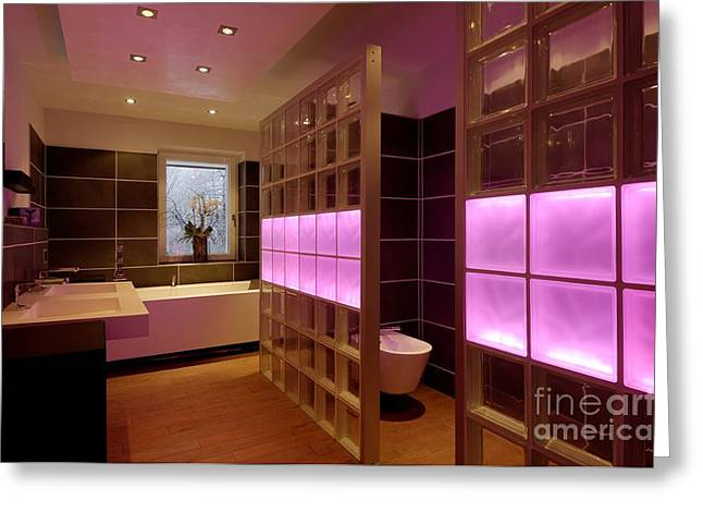 Glass Wall Greeting Cards - Colored Led Bathroom Lights Greeting Card by Volker Steger