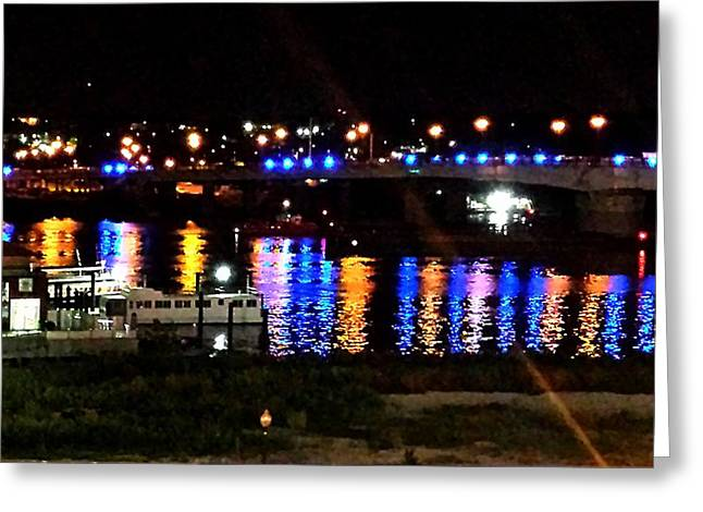 Colored Lights Reflect On Potomac Greeting Card by Kenny Glover